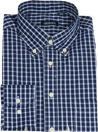 Mr. Hope Classic camisa azul a cuadros Blu a quadri: Amazon ...