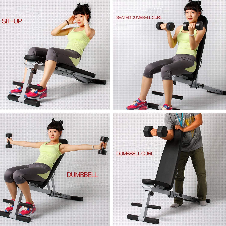 Lxn Banco multifuncional plegable de pesas con mancuernas negro, tabla supina de nivel de entrenamiento, tabla de abdominales para el hogar, ...