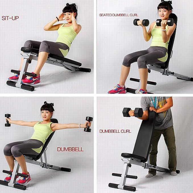 Tx- Banco multifuncional plegable de pesas con mancuernas negro, tabla supina de nivel de entrenamiento, tabla de abdominales para el hogar, ...