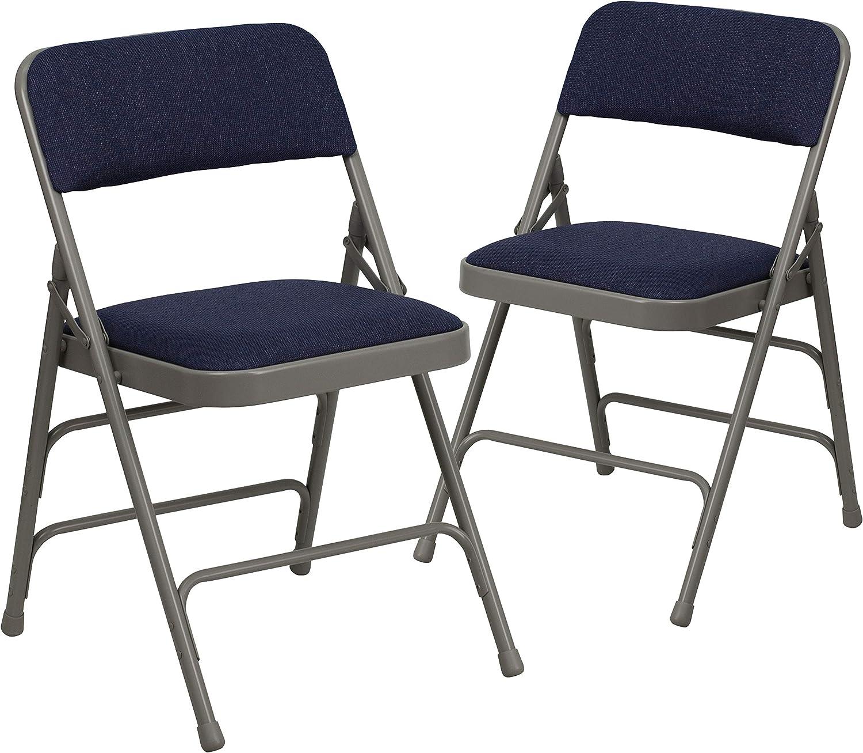 Flash Furniture 2 Pk. HERCULES Series Curved Triple Braced & Double Hinged Navy Fabric Metal Folding Chair