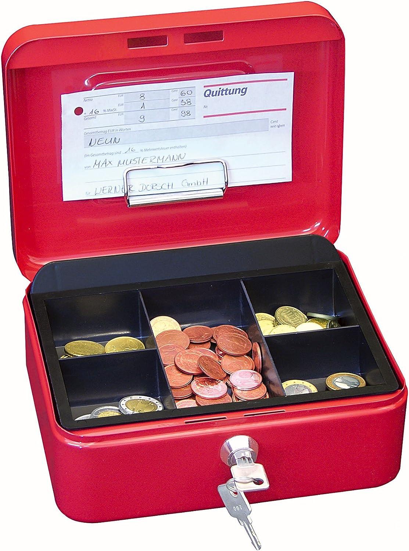 Wedo 14520 - Caja para dinero (20 x 16 x 9 cm, 5 compartimentos), color rojo