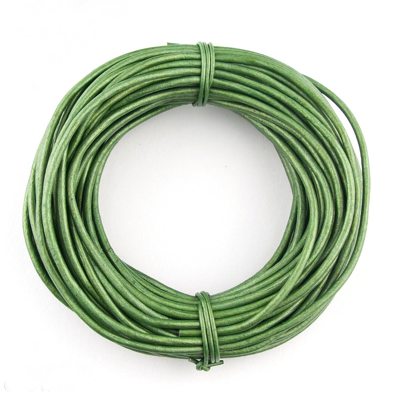 Xsotica Round Leather Cord 2mm Metallic Green 10 Feet