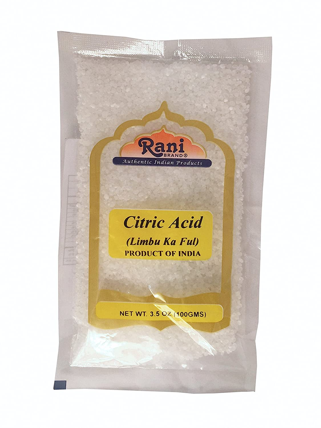 Rani Citric Acid Powder, Food Grade (Limbu Ka Ful) 3.5oz (100g) ~ Used for cooking, bath bombs, cleaning | Indian Origin | Gluten Free