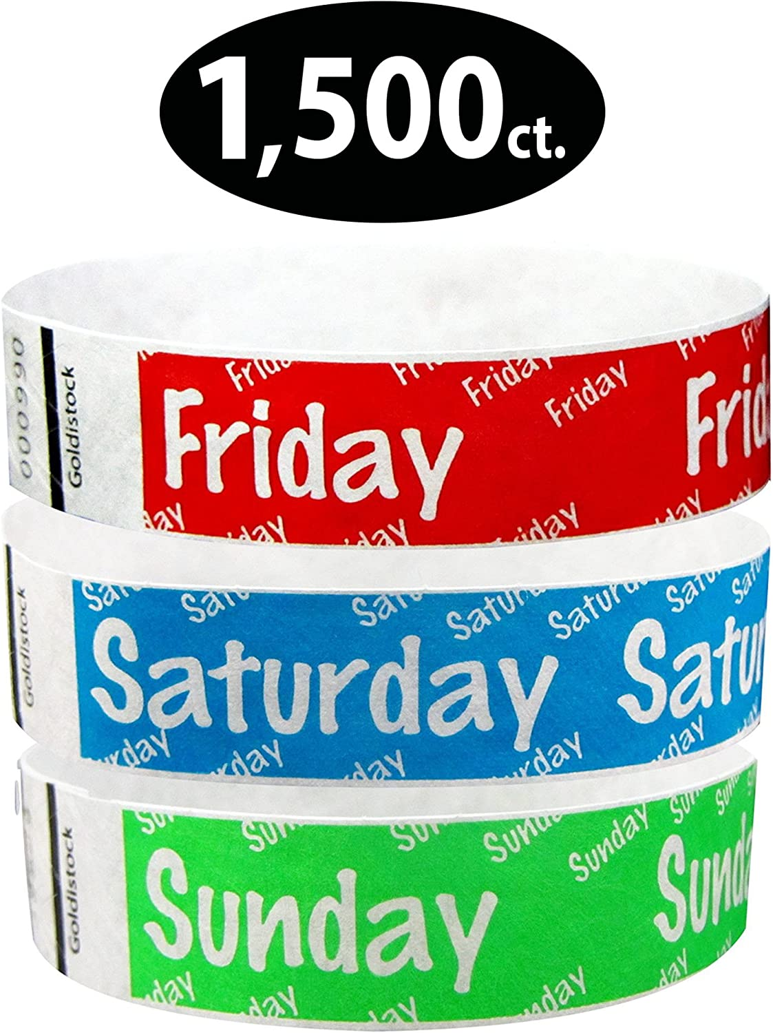 """Heavier Tyvek Wristbands 7.5 Mil – Goldistock Weekend Variety Pack 1,500 Count - ¾"""" Arm Bands- 500 Ea: Friday (Red), Saturday (Blue), Sunday (Green) - Paper-like Party Armbands- Wrist Bands for Events"""