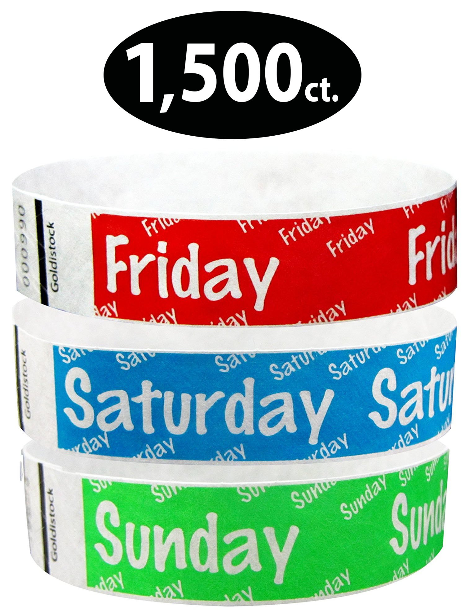 Goldistock 3/4'' Tyvek Wristbands Variety Pack 1,500 Count- Friday (Red), Saturday (Neon Blue), Sunday (Green)