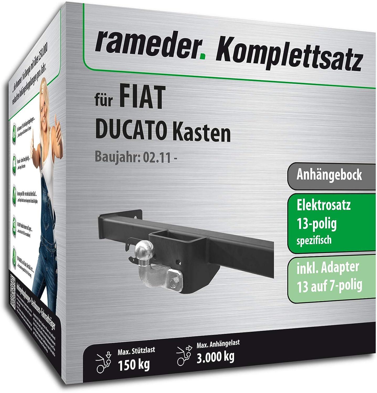 13pol Elektrik f/ür FIAT DUCATO Kasten 136497-05631-10 Anh/ängebock mit 2-Loch-Flanschkugel Rameder Komplettsatz