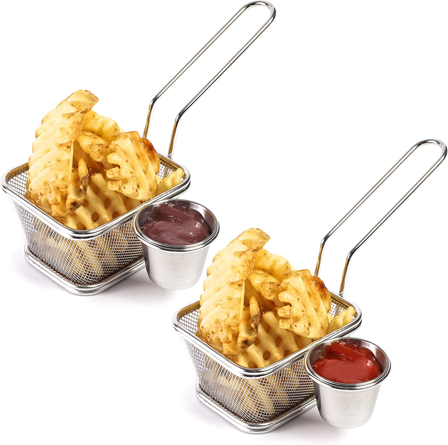 Stainless Steel Mini Chip Fryer Basket with Sauce Cup (Set of 2)