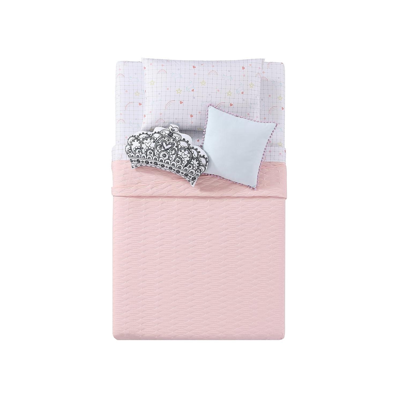My World LHK-PILLOWBLANKET Full//Queen Quilted Jersey Blanket in Pink Pem America BK2111PKFQ-4500