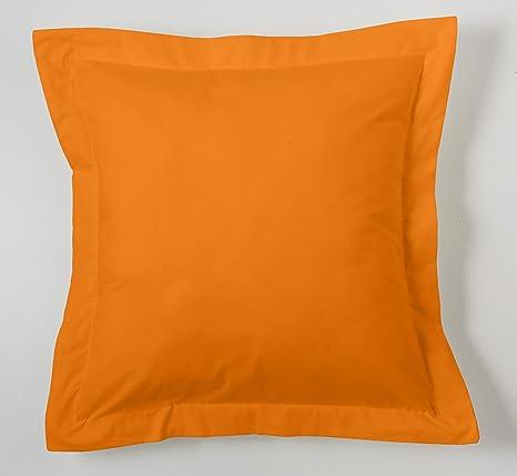 ESTELA - Funda de cojín Combi Lisos Color Naranja - Medidas 55x55+5 cm. - 50% Algodón-50% Poliéster - 144 Hilos - Acabado en pestaña