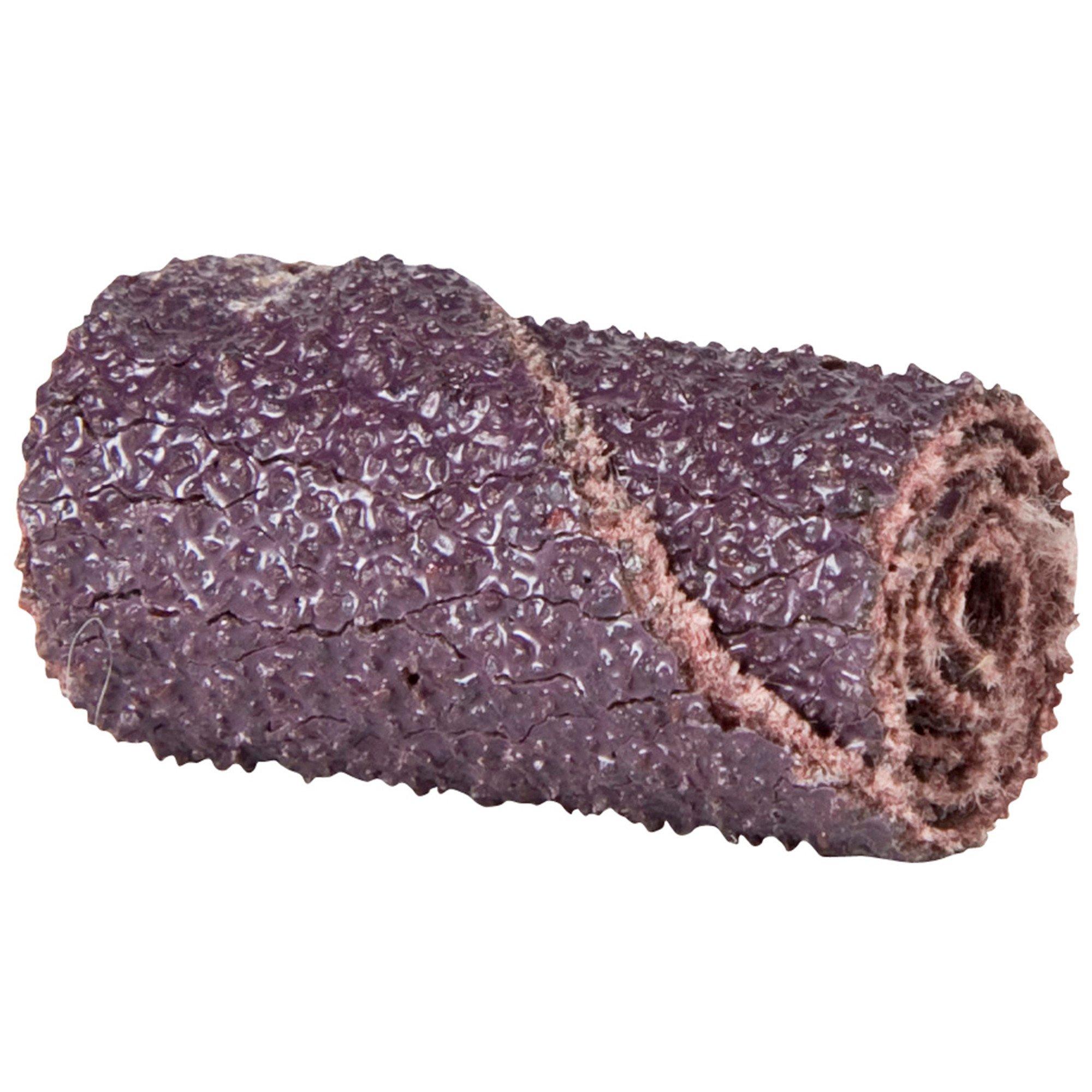 Merit Abrasive Cartridge Roll, Aluminum Oxide, 1/8'' Arbor, Roll 3/8'' Diameter x 1-1/2'' Length, Grit 40 (Pack of 100)