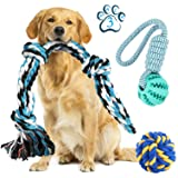 Dog Rope Toys for Pet Aggressive Chewers-Set of 3 Dog Rope Ball Interactive Tug of War Toy for Small/ Medium Dog-Puppy Molar