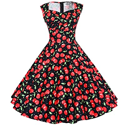 Maggie Tang 50s 60s Vintage Swing Picnic Party Casual Cocktail Dress at Women's Clothing store