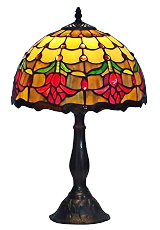 Amora Lighting AM1094TL12 Tiffany Style Stained Glass Table Lamp Tulip  Flower Design     Amazon.com