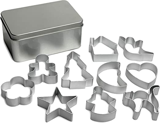 10 Christmas Cookie Cutters Set,Stainless Steel Metal Cookie Cutters