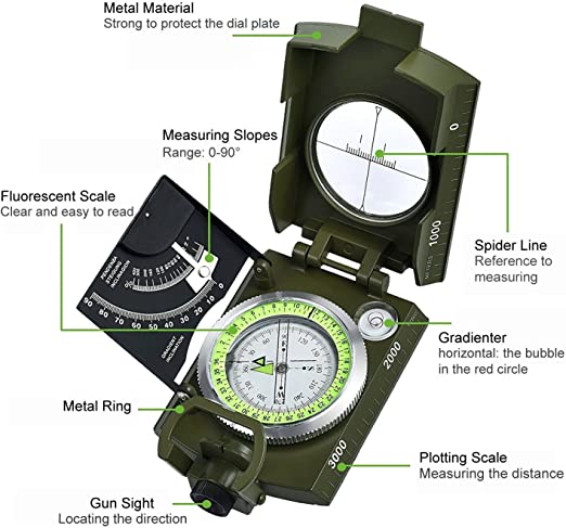 Professional Pocket Military Army Metal Geology Compass Clinometer Multifunction
