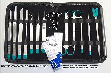 Sciences-cool.com Estuche de disección con 12 Instrumentos inoxidables para Estudiante, 2 cm de Espesor, colección, Color marrón: Amazon.es: Juguetes y juegos