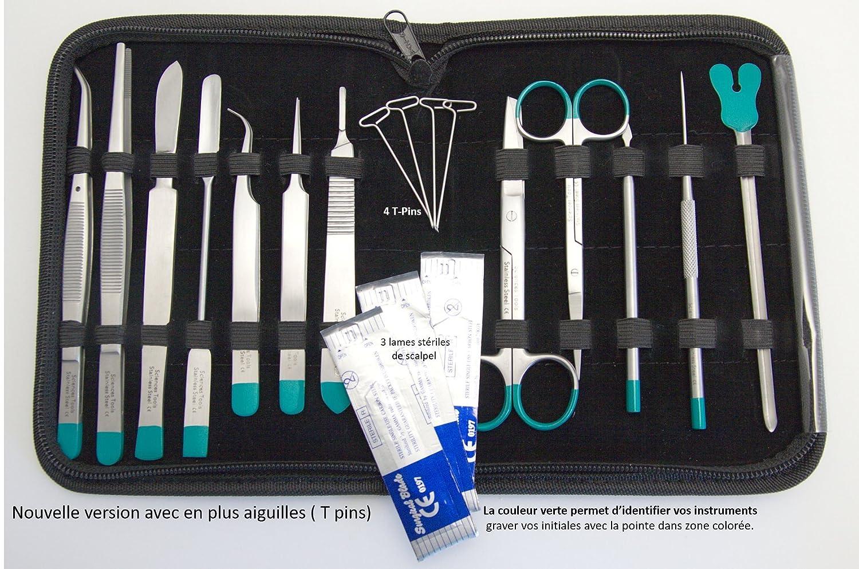 Astuccio per dissezione, kit di 12 strumenti professionali in acciaio INOX per studente, spessore: 2 cm, colore: marrone scuro Sciences-cool.com STT-01