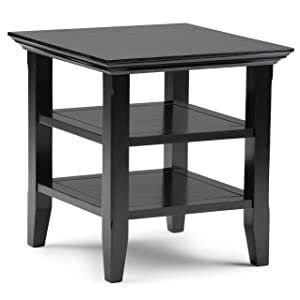 Simpli Home AXWELL3-003-BL Acadian Solid Wood 19 inch Wide Square Rustic End Table in Black