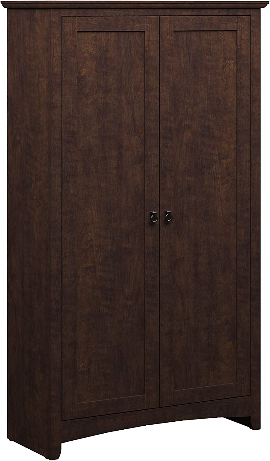 Bush Furniture Buena Vista Tall Storage Cabinet with Doors in Madison Cherry
