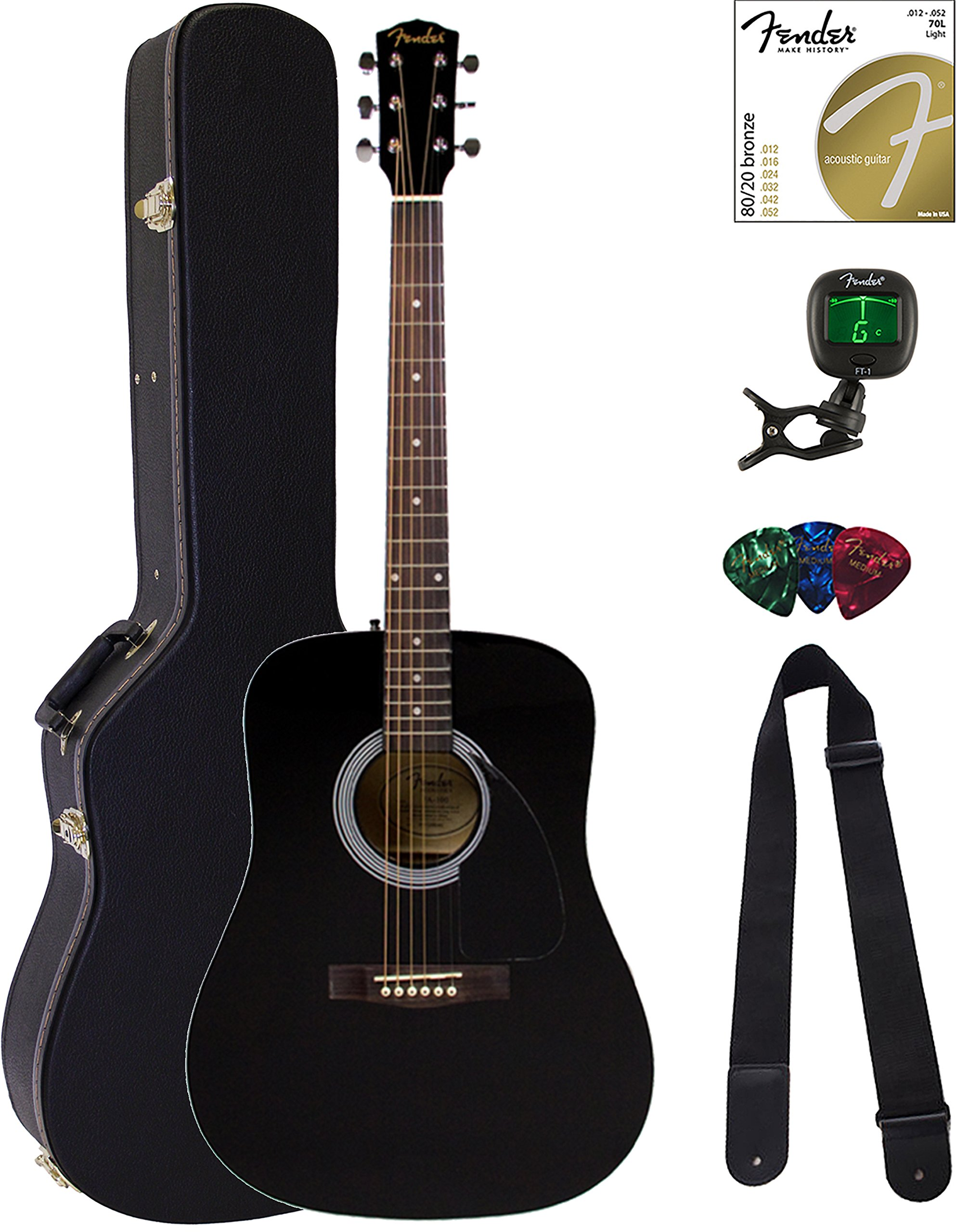 Fender FA-100 Dreadnought Acoustic Guitar - Black Bundle with Hard Case, Tuner, Strings, Strap, and Picks