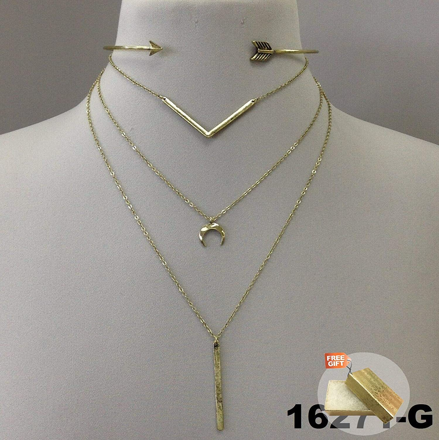 Gold Finish Triple Layer Choker Chain Bar Charm Pendants Necklace with Earrings