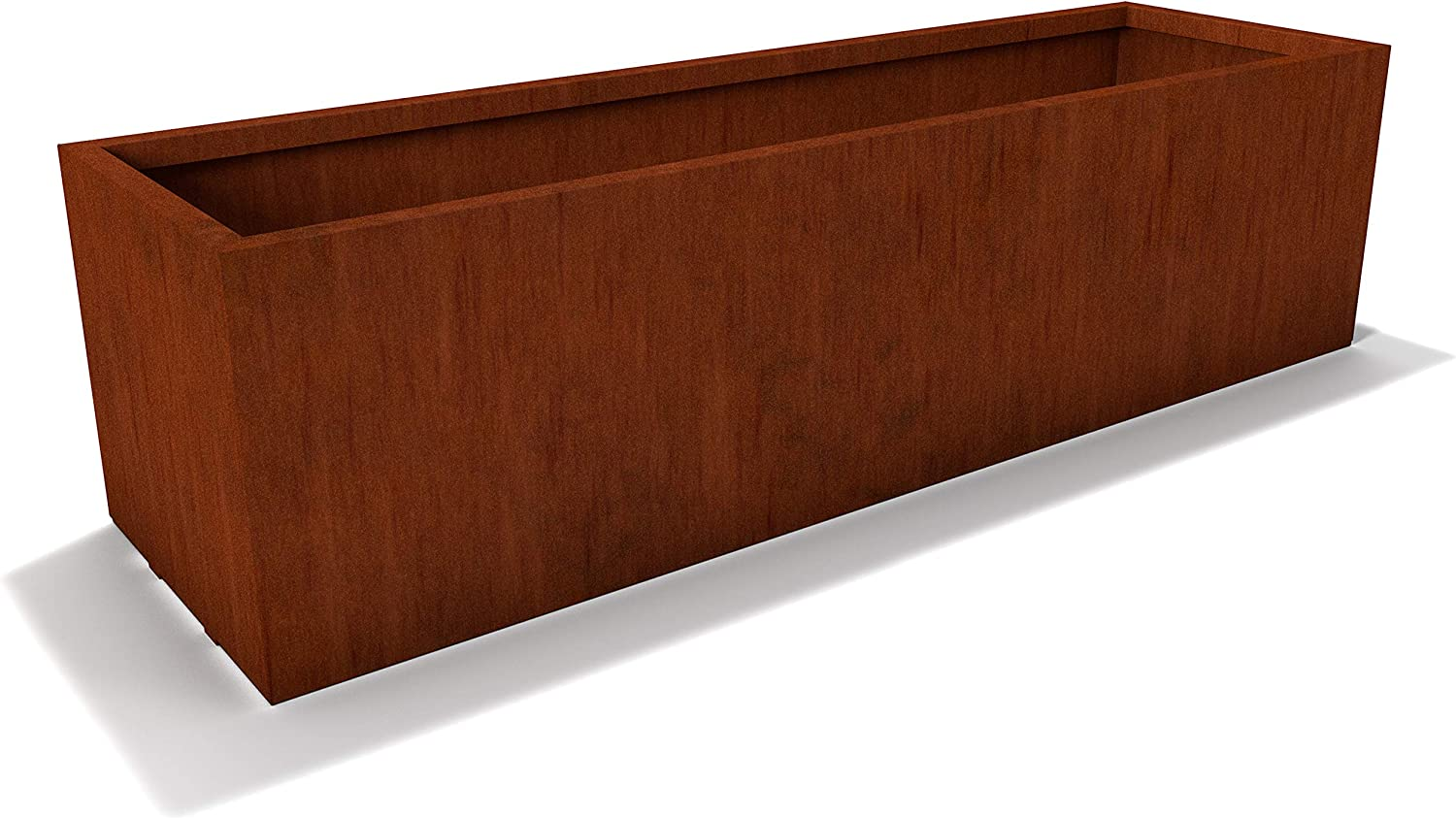Modern CORTEN Steel Rectangle Planter Box by Lewis Bamboo (48-in L x 14-in W x 14-in T)
