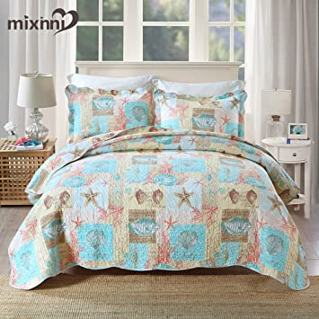 Mixinni Seashell Beach Bedding Quilt Set Beach Theme Bedspread Sets King  With Shams Shell Print Pattern