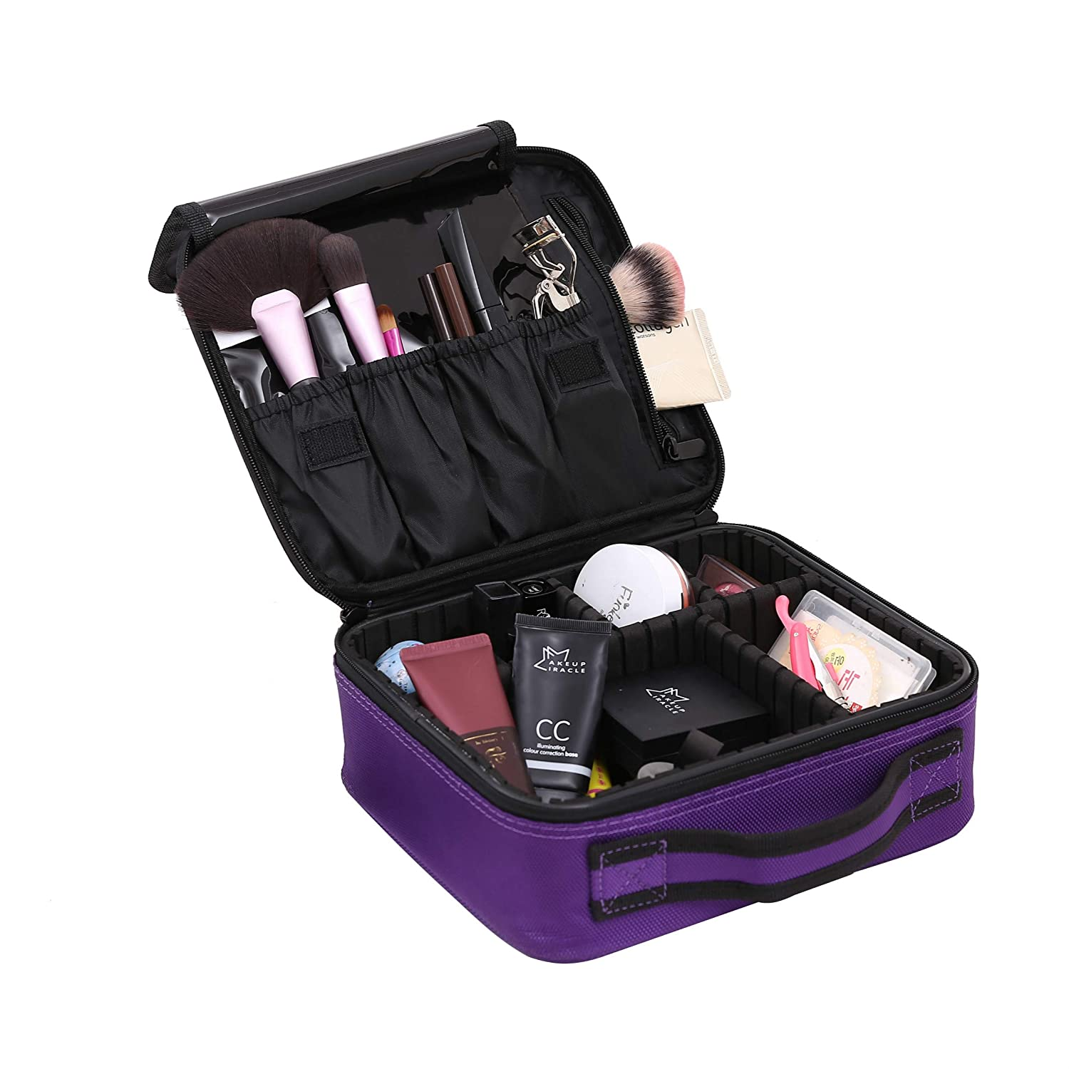 Makeup cosmetic Storage Case, makeup organizer portable Travel Makeup Bag Makeup Case Organizer Makeup Organizer Bag with Adjustable Dividers Cosmetic Bag Toiletry Organizer Tool (purple) YYHHQ-home