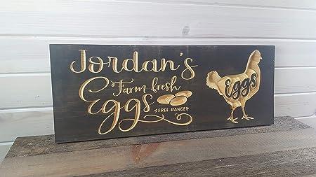 LenRag05 - Cartel de Madera con diseño de gallina y gallina ...