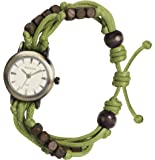 Kahuna Women's Quartz Watch with Gold Dial Analogue Display and Green Plastic or PU Strap KLF-0004L