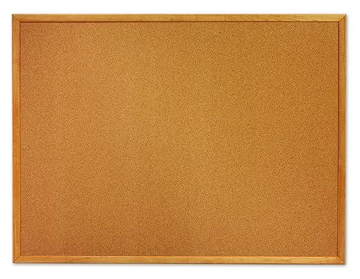 Quartet Cork Bulletin Board, 2 x 3 Feet, Oak Finish