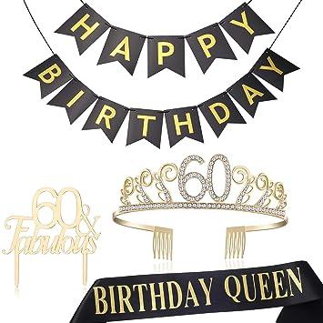 Amazon.com: BABEYOND - Tiara de cristal para 60 cumpleaños ...