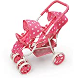 Polka Dot Reversible Double Doll Stroller by Badger Basket