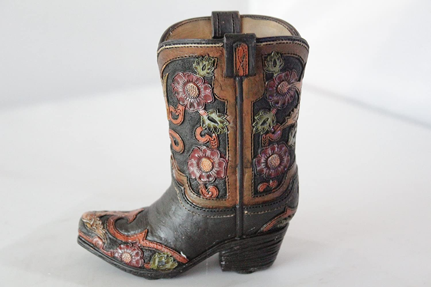 Small Western Cowboy Cowgirl Rustic Hand Tooled Flowers Boot Vase Pen Pencil Holder