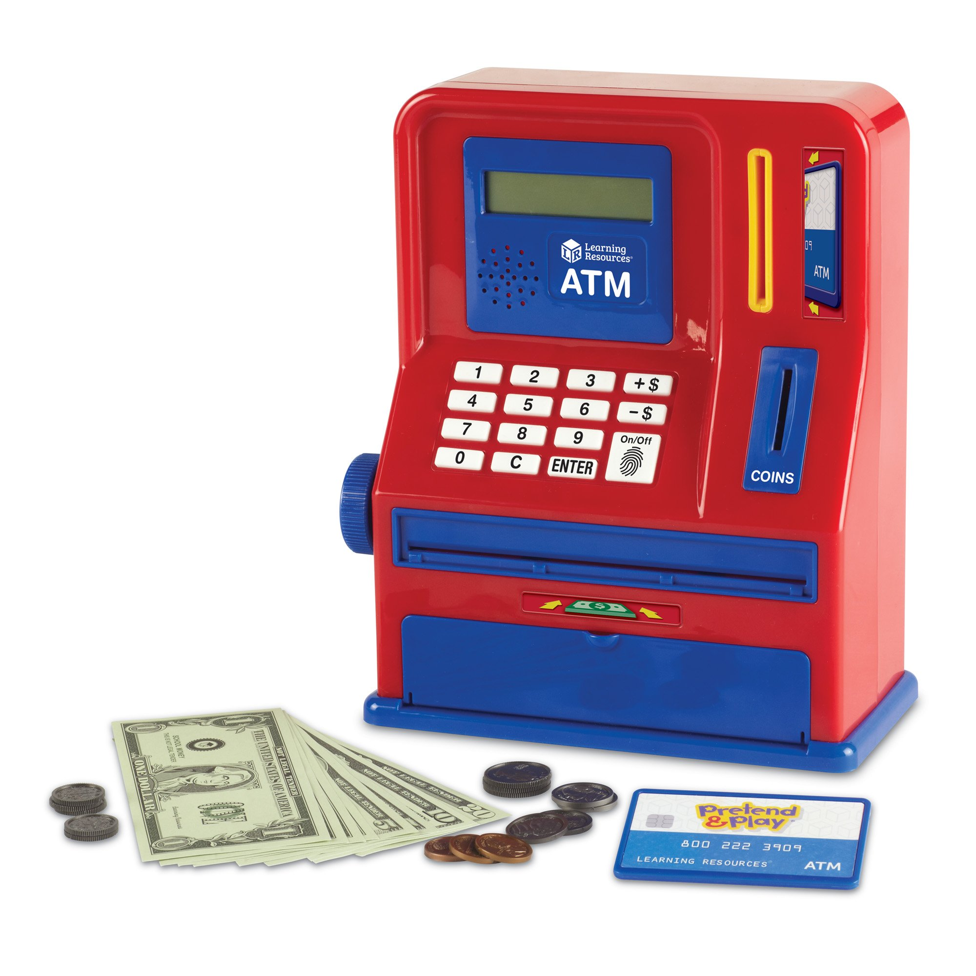 Learning Resources Teaching ATM Bank, Blue & Red, 32 Pieces by Learning Resources