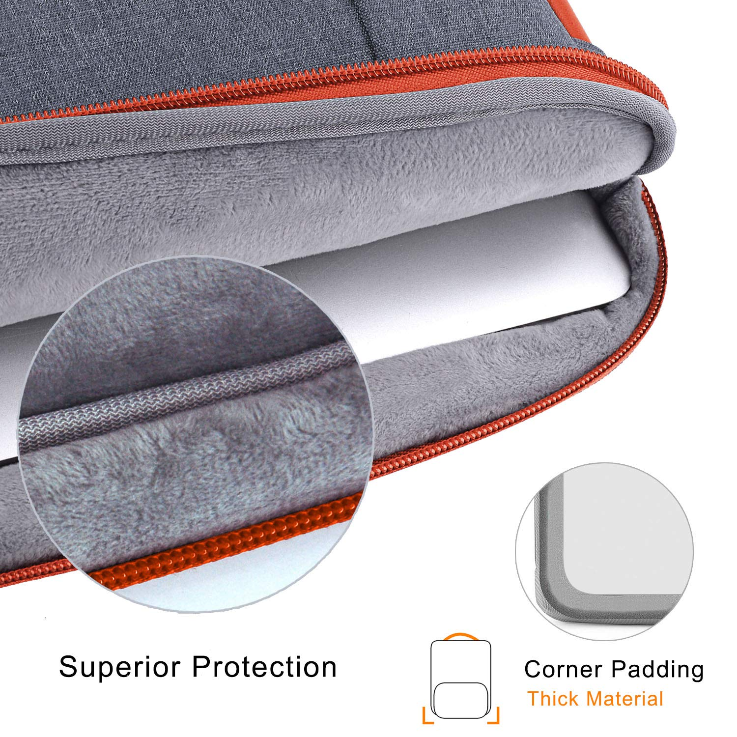 Voova 14-15.6 Inch Laptop Sleeve Bag Cover Special Design Waterproof Computer Protective Carry Case with Detachable Accessory Pocket Compatible with MacBook Pro Retina 15'', HP, Asus, Acer, Dark Gray by  Voova (Image #5)