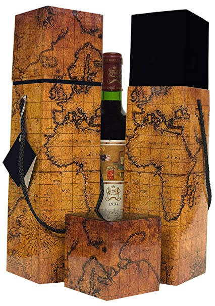 Wine Gift Box X2 Reusable Caddy Easy To Assemble No Glue Required Gift Tag Included Vintage Map Design Lafite Collection Ez Wine Gift