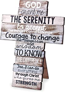 God Grant Me Serenity Distressed Wood 9 Inch Stacked Wood Cross Figurine