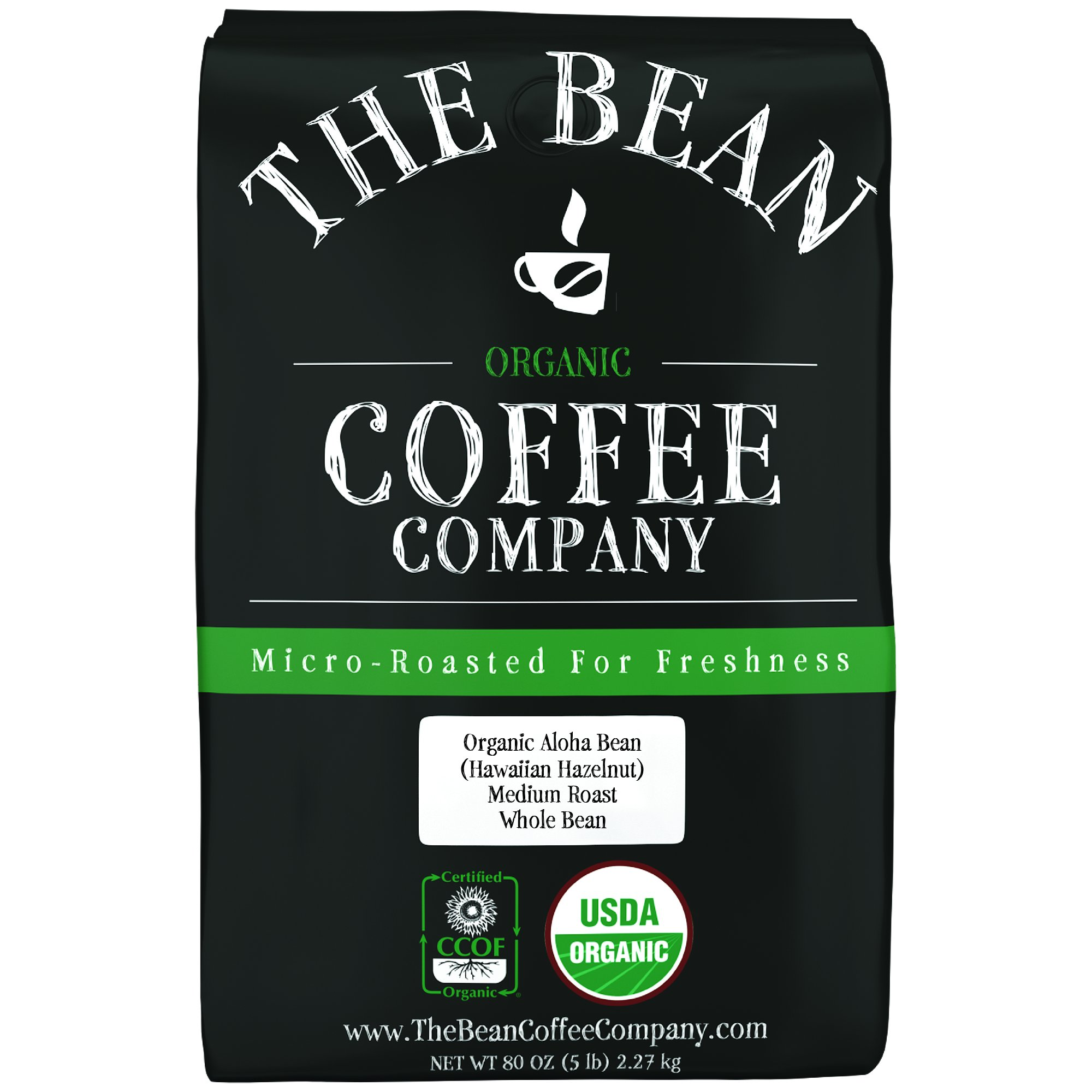 The Bean Coffee Company Organic Aloha Bean (Hawaiian Hazelnut), Medium Roast, Whole Bean, 5-Pound Bag by The Bean Coffee Company