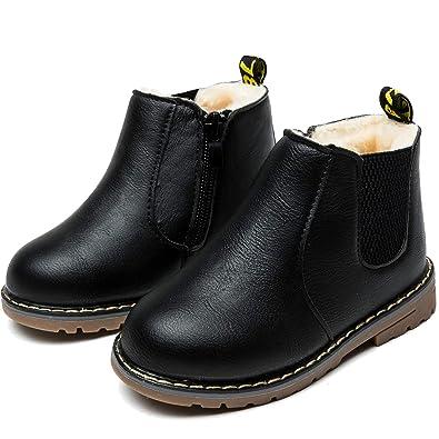 online store bb747 dd978 Nasonberg Kinderstiefel Junge Mädchen Winterstiefel Leder Schneestiefel  Warme weiche Winterschuhe Boots