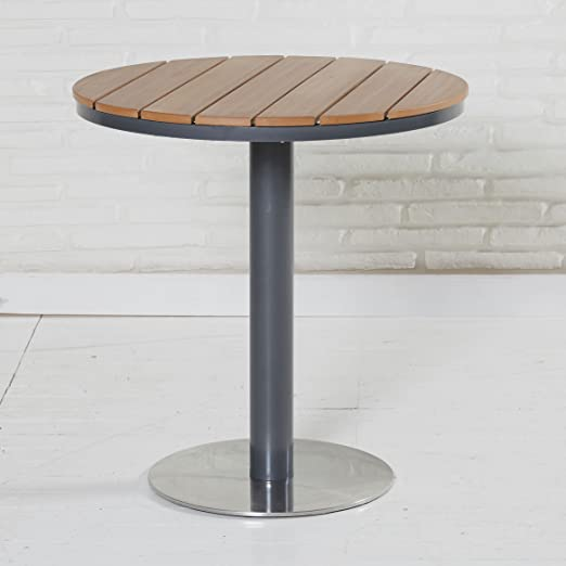 Mesa de jardín Natural Acero Inoxidable Redonda de metal (polywood ...