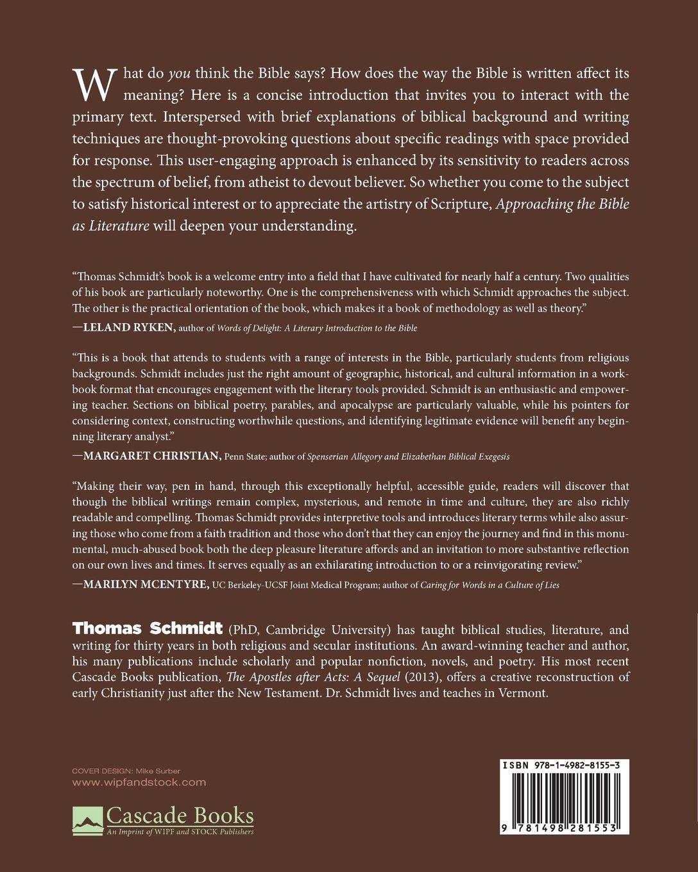 Approaching the Bible as Literature: An Interactive Workbook: Thomas  Schmidt: 9781498281553: Amazon.com: Books