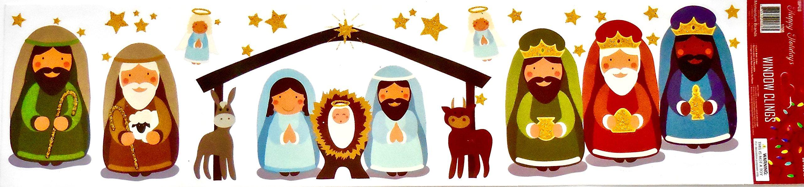 Happy Holidays Christmas Manger Scene Window Cling,Manger,Wise Men,Angels,Stars,Animals