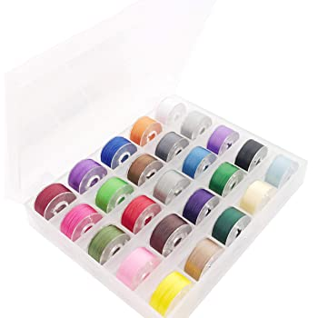 New brothread 25pcs Assorted Colors 70D/2 (60WT) Prewound Bobbin Thread Plastic Size A