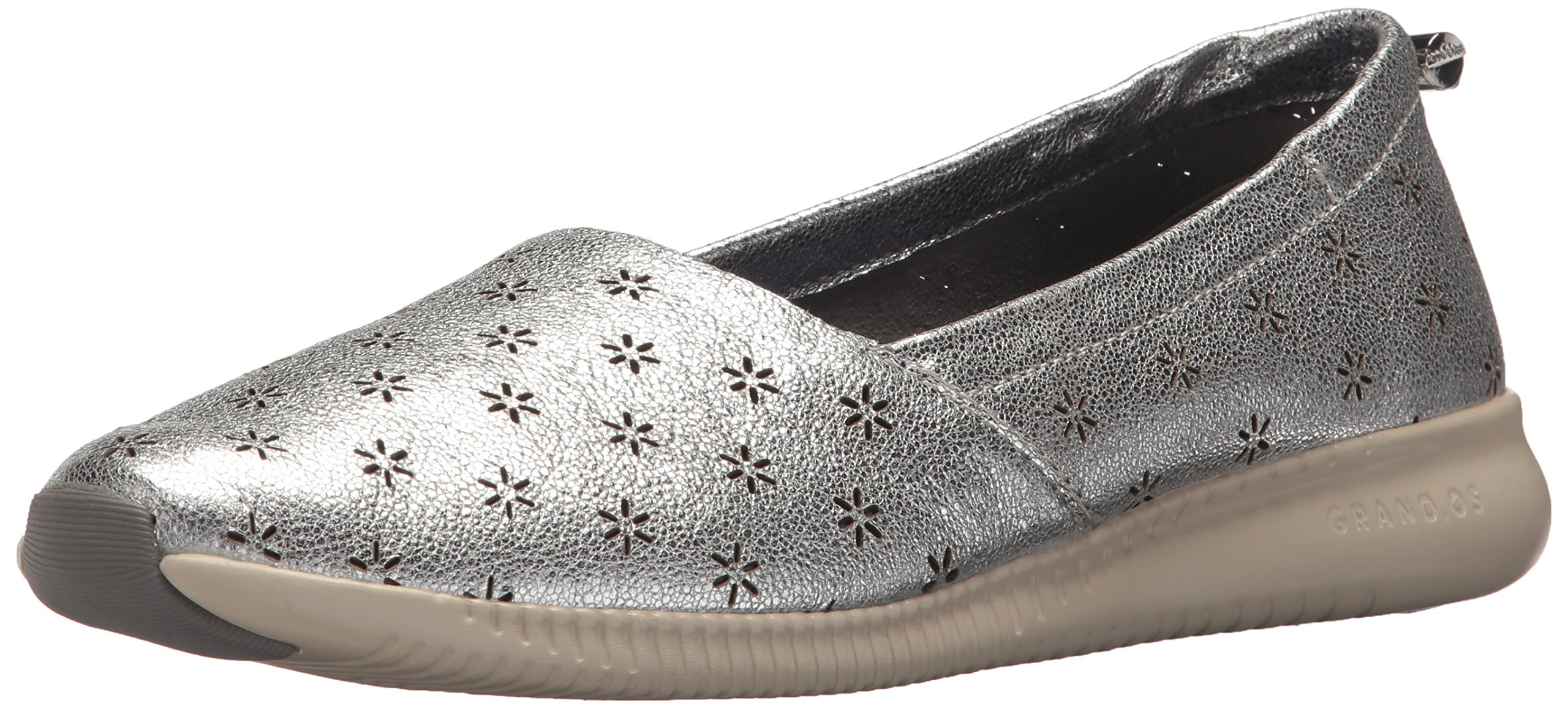 Cole Haan Women's Studiogrand Perf Slip On Loafer, Pewter Metallic Perforated Nubuck, 7.5 B US