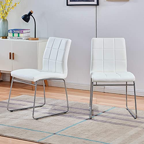 Modern Dining Chairs Set of 2 Dining Room Chairs Faux Leather Chrome Legs
