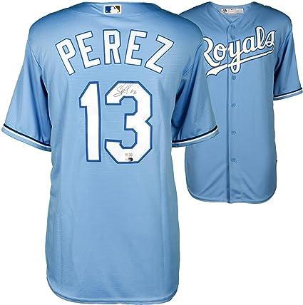 reputable site 44704 a0514 Salvador Perez Kansas City Royals Autographed Powder Blue ...
