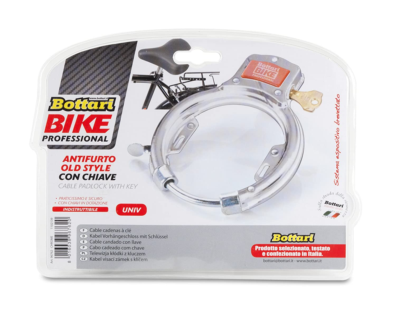 Bottari Bike Security Cable Pad Lock with Key Super Tough - White ...