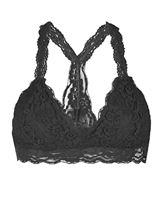 e328a83866c Youmita Racerback Triangle Floral lace overlayed Bralette at Amazon Women s  Clothing store