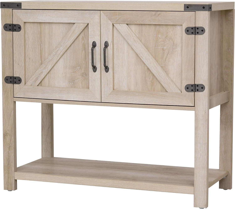 HOMCOM 2-Door Free Standing Storage Hutch Cabinet with Bottom Shelf, Kitchen Cupboard, Entryway Storage Cabinet, Oak
